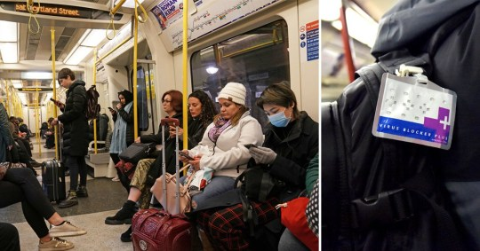 The London Underground, commuter wears a face mask