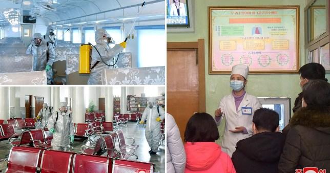 composite showing coronavirus measures in North Korea