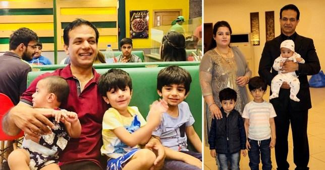 Two family photos of Amin Rasheed, his wife Anila Amin, and their children Shahryar, Ashar Amin and Zoha Amin