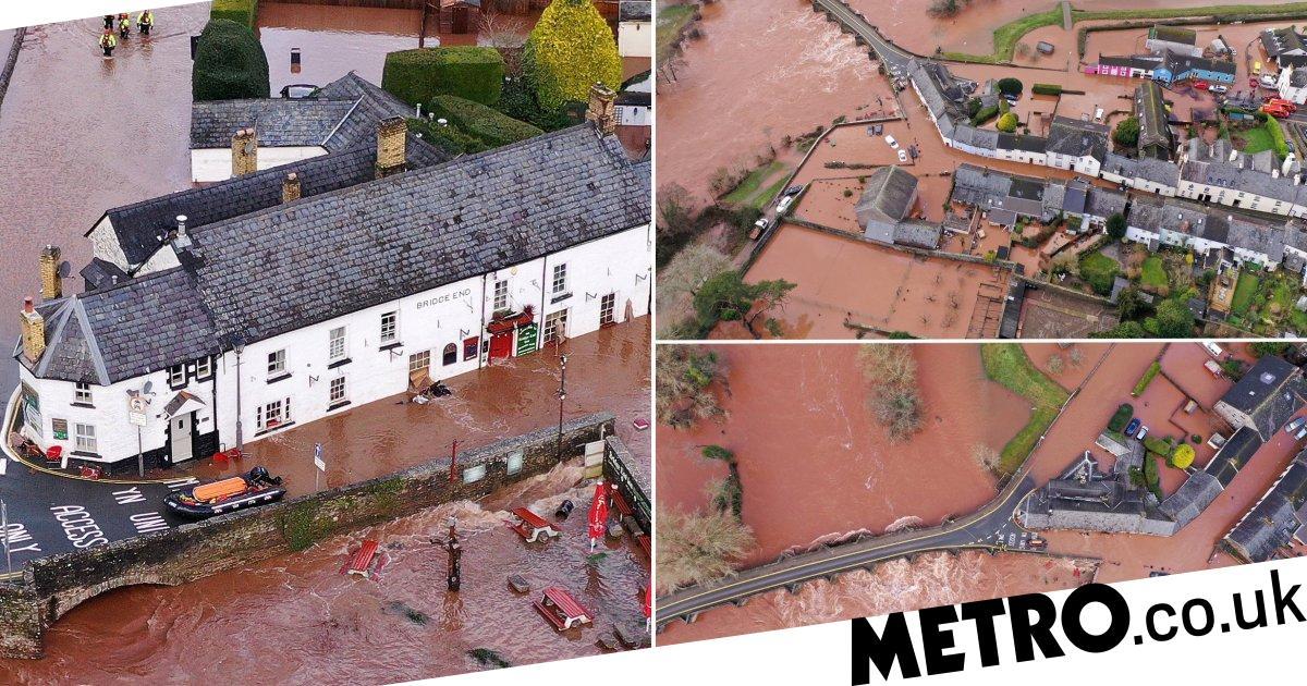 Drone pictures reveal devastating extent of Storm Dennis floods