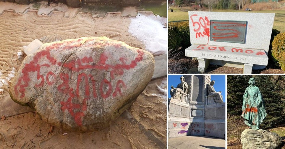 Red graffiti on Plymouth Rock and pictures of red spray paint on other monuments around the site of the 1620 Mayflower landing
