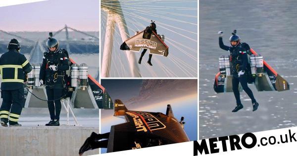 Jetpack pilot is a real-life Iron Man as he flies over Dubai