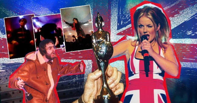 Split image of artists at the Brit Awards including Geri Halliwell, Liam Gallagher and Michael Jackson