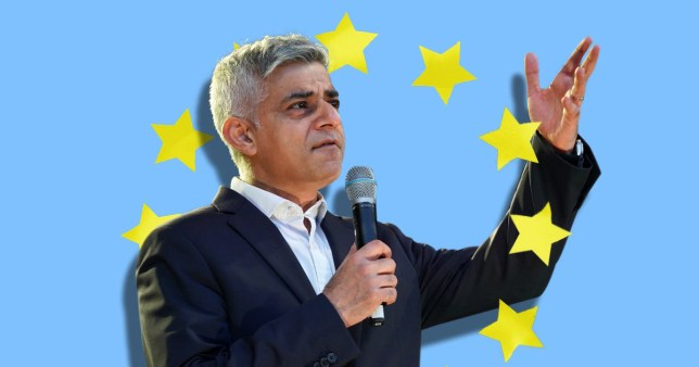 Sadiq Khan with the EU flag in the background