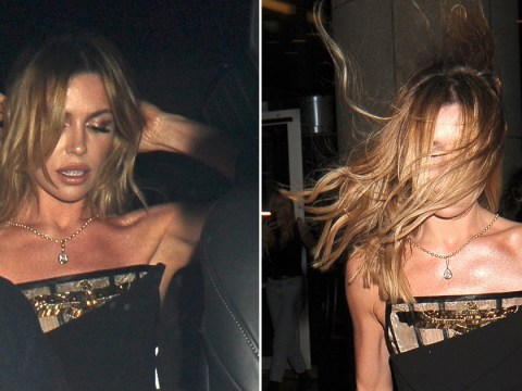 Abbey Clancy takes windswept, but makes it fashion as she leaves Brits after-party