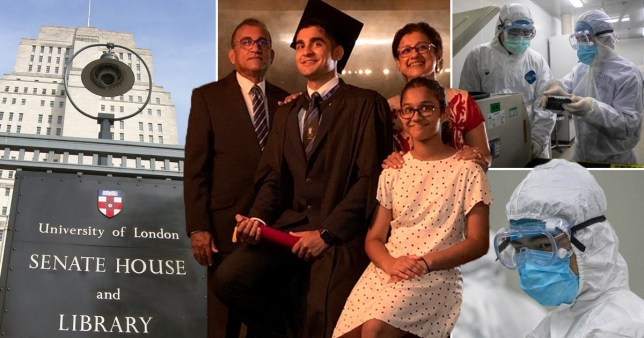Pictures of University of London senate library, medical workers in hazmat suits amidst the coronavirus outbreak and a mock graduation photo staged by the family of Akarsha Weerasooriya, whose graduation ceremony in London was cancelled due to the coronavirus outbreak