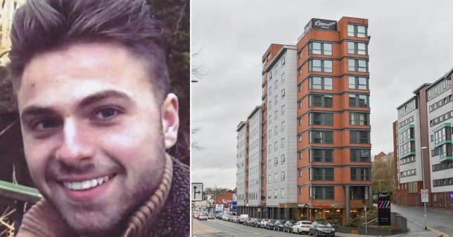 Student surgeon Giorgio Contardi, 24, from Chesterfield, South Yorkshire next to picture of Roomzzz Hotel in Leeds where he jumped to his death following an argument with his girlfriend about alcohol, an inquest heard