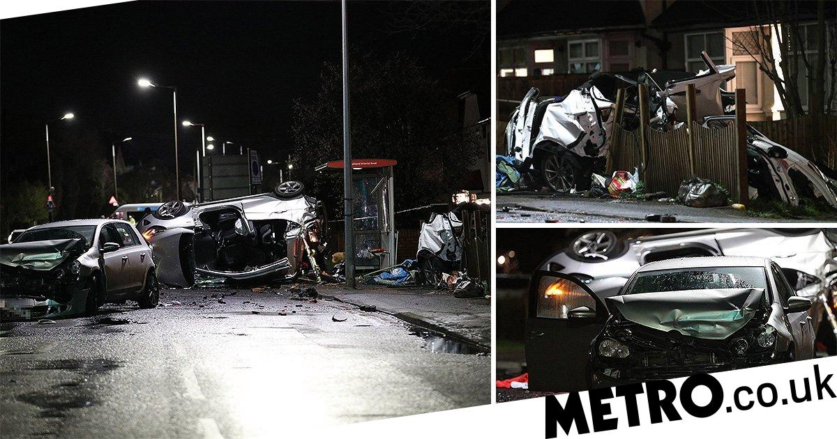 Two dead after seven vehicle pile-up in east London