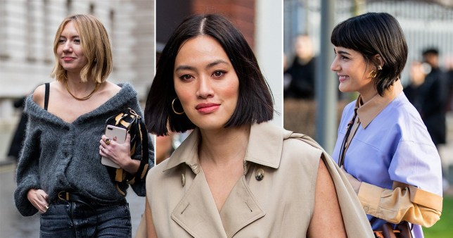 close ups of people with bobs at london fashion week