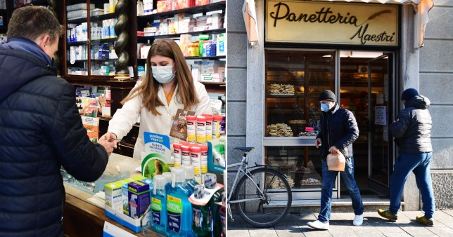 Woman wearing protective mask in Italian pharmacy and people wearing masks outside bakery.