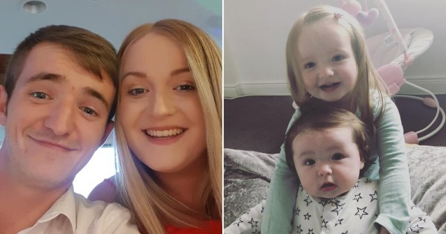 Gemma Cousin, 26 with husband, Rhys Cousin, 25, and daughters Peyton and Heidi aged three years and one year old