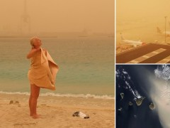 Canary Islands engulfed by massive sandstorm seen from space