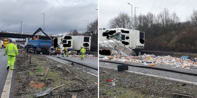 Debris was strewn across the carriageway during the crash