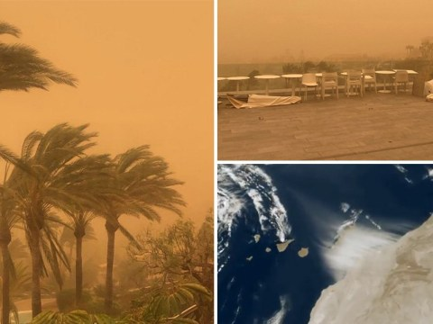 Saharan sandstorm turns sky orange in Canary Islands leaving Brits stranded