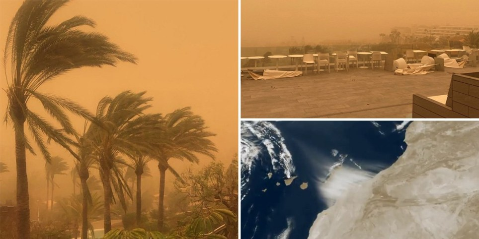 composite showing impact of Saharan storms on Canary Islands