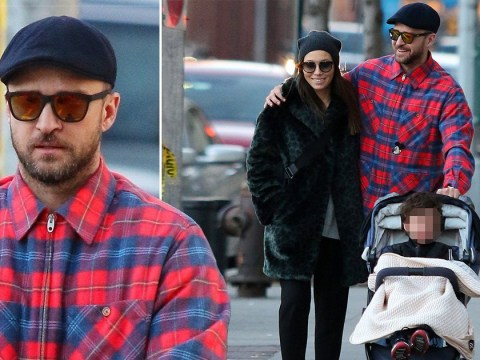 Justin Timberlake and Jessica Biel are happy families as they take son Silas to lunch in New York