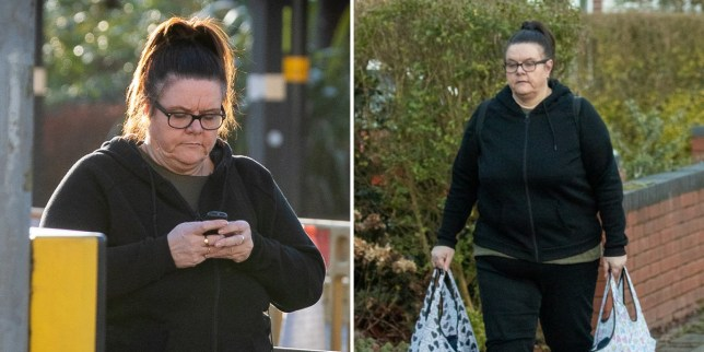 Two pictures of Britain's worst female paedophile Vanessa George photographed in the streets with hair dyed black as a 'disguise'