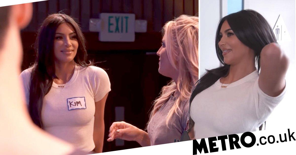 Kim Kardashian gets all shy as she joins improv drama class with Scott Disick