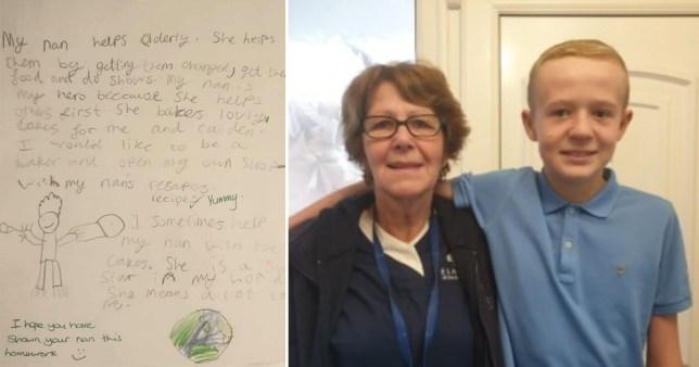 bailey and his grandma, diane, with the homework he wrote calling her his hero