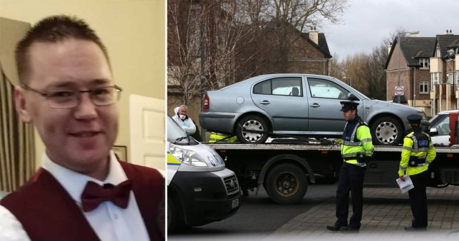 Garreth Kelly, 39, named locally as the victim of a stabbing in the Brownsbarn Estate in Clondalkin, southwest Dublin and police removing his car from the scene