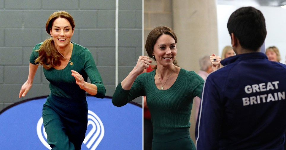 Kate Middleton, Duchess of Cambridge, racing and learning taekwondo at London Stadium, the former Olympic Park, in Stratford, east London