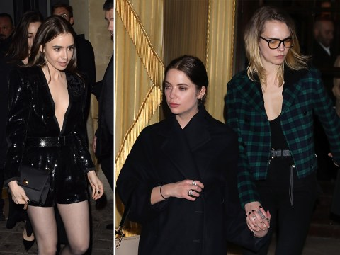 Cara Delevingne and girlfriend Ashley Benson are loved up at PFW as they join Hailey Bieber and Lily Collins