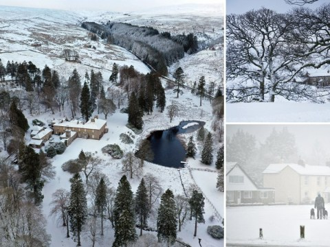 UK blanketed in snow as temperatures plummet and flooding continues