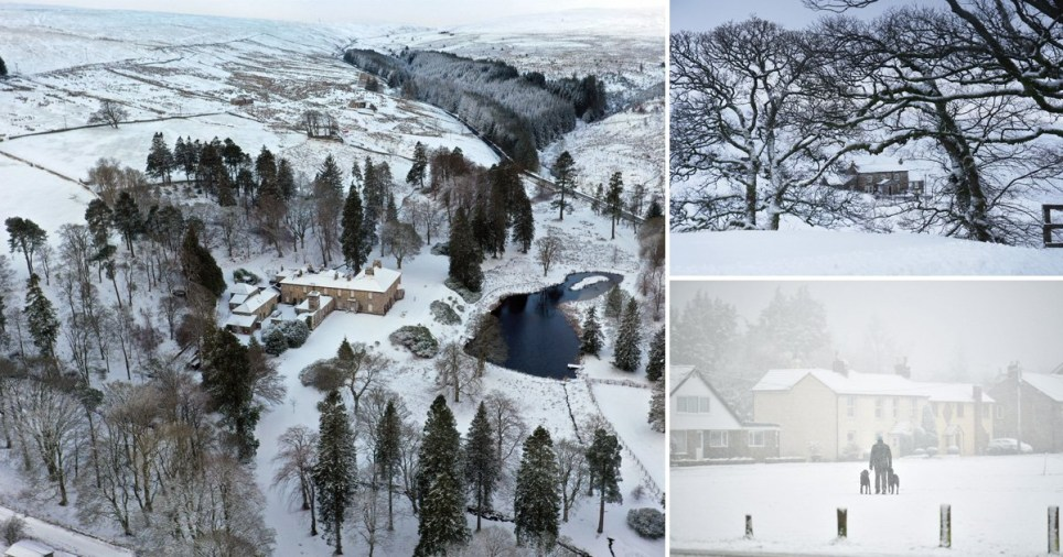 Heavy snow fell overnight for parts of the UK (Picture: Peter Macdiarmid/ Ben Cawthra/ LNP)