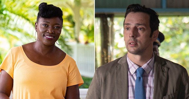 Caption: Andi Osho jokes Ralf Little is a \'nightmare\' to work with on Death in Paradise