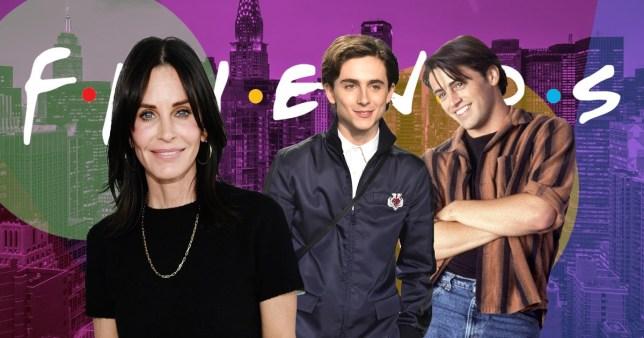 Courteney Cox, Timothée Chalamet, Matt LeBlanc as Joey Tribbiani