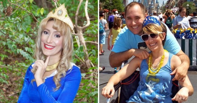 Split image of woman who had cancer pictured with her husband in one photo and in a Disney princess outfit in the other photo.