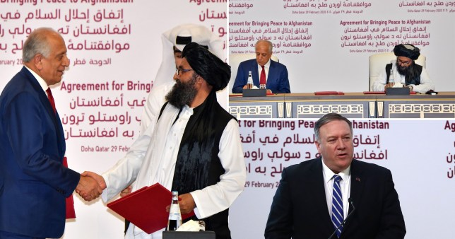 US and Taliban sign peace deal which could bring an end the an 18 year war in Afghanistan (Picture: Getty; AP)