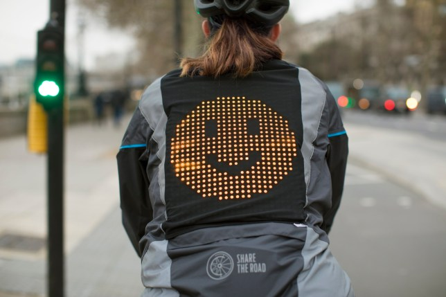 EMBARGOED 6/2/2020 Prototype 'Emoji Jacket' will let cyclists share their feelings with drivers