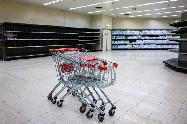 Shopping trollies are seen near bare supermarket shelves, usually stocked with toilet paper and kitchen rolls