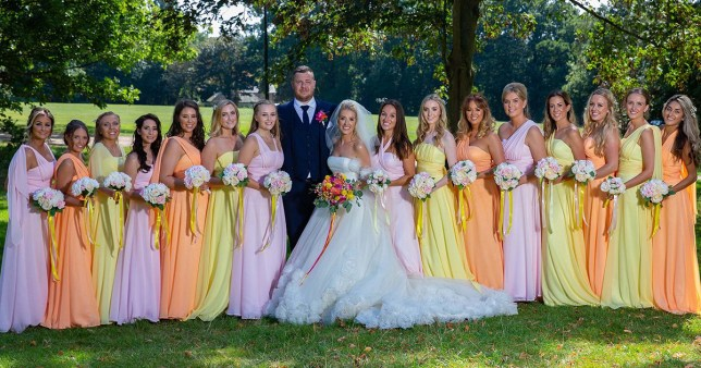 Chelsie, Sonny, and all their bridesmaids (Picture: Peltier/Caters News)