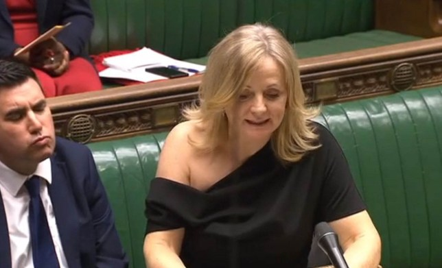 File photo dated 04/02/20 of Tracy Brabin raising a point of order in the Commons on Monday. Ms Brabin has announced she is auctioning the off-the-shoulder dress that drew criticism after she wore it in the Commons. PA Photo. Issue date: Thursday February 6, 2020. Ms Brabin was forced to defend her attire after the dress slipped off her shoulder when she leaned on the despatch box due to a broken ankle on Tuesday. The Labour MP for Batley and Spen has since decided to sell the dress for charity on eBay, claiming it had sold out on ASOS as a result of the coverage. See PA story POLITICS Shoulder. Photo credit should read: House of Commons/PA Wire