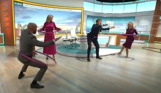 GMB viewers in stitches as Charlotte Hawkins and Alex Beresford hoola-hoop live on camera