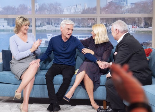 Editorial use only Mandatory Credit: Photo by S Meddle/ITV/REX (10550528q) Phillip Schofield and Holly Willoughby with Eamonn Holmes and Ruth Langsford 'This Morning' TV show, London, UK - 07 Feb 2020