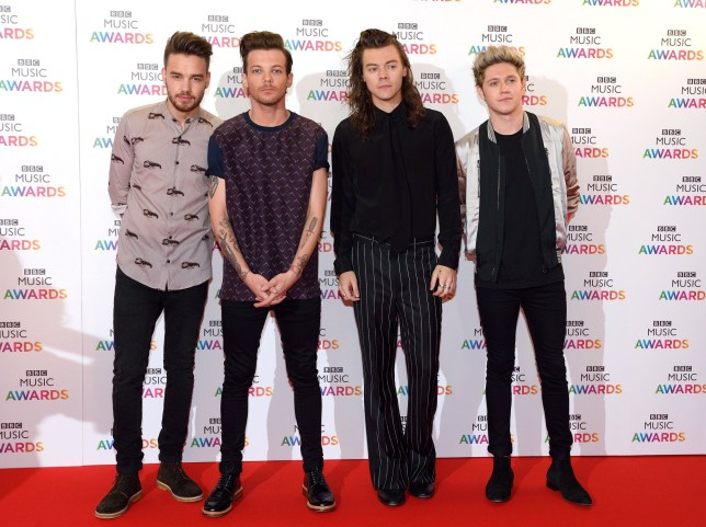 BIRMINGHAM, ENGLAND - DECEMBER 10: Liam Payne, Louis Tomlinson, Harry Styles and Niall Horan of One Direction attend the BBC Music Awards at Genting Arena on December 10, 2015 in Birmingham, England. (Photo by Karwai Tang/WireImage)