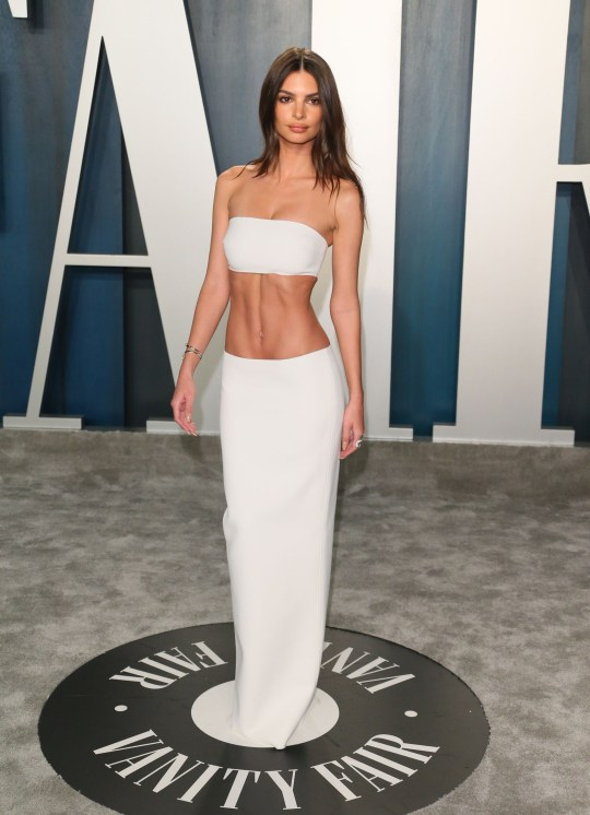 US model Emily Ratajkowski attends the 2020 Vanity Fair Oscar Party following the 92nd Oscars at The Wallis Annenberg Center for the Performing Arts in Beverly Hills