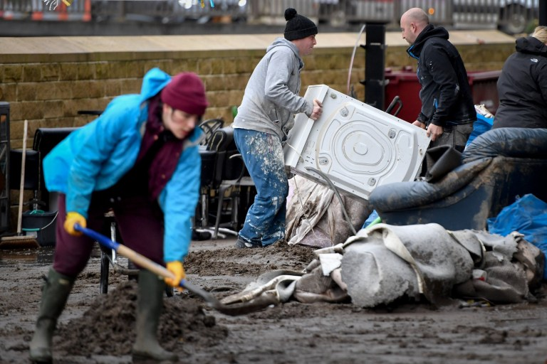 MYTHOLMROYD, ENGLAND - FEBRUARY 10: Residents begin clearing up following severe flooding beside the River Calder on February 10, 2020 in Mytholmroyd, West Yorkshire, England. (Photo by Anthony Devlin/Getty Images)