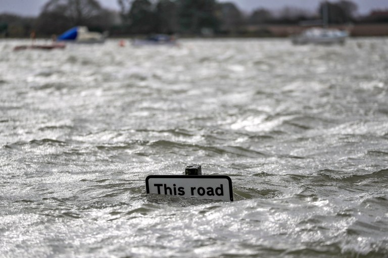 """Flooding in Bosham, Sussex caused by the high tide, the Met Office have said that """"a spell of very strong winds,"""" with gusts of 60-70mph, is expected across southern England on Monday, bringing likely delays to road, rail, air and ferry transport. PA Photo. Picture date: Monday February 10, 2020. See PA story WEATHER Storm. Photo credit should read:Steve Parsons/PA Wire"""