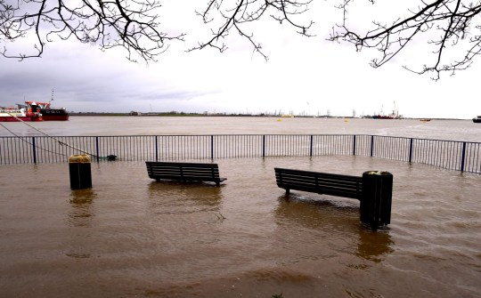 severe flooding along the thames barrier caused by Storm Ciara
