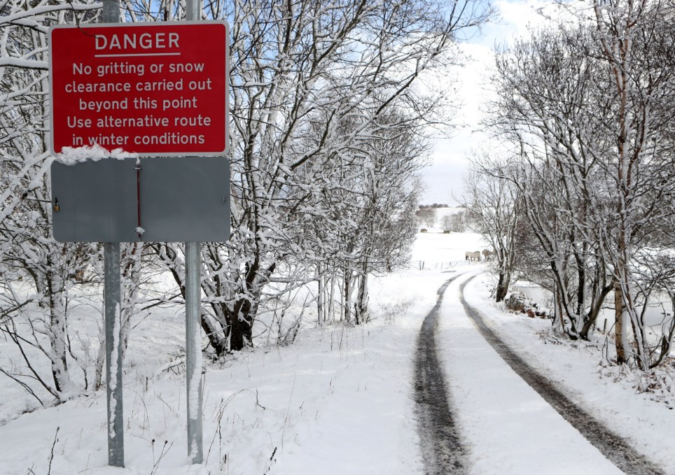 A road sign warns of driving conditions near Trinafour, Scotland, Britain February 10, 2020. REUTERS/Russell Cheyne