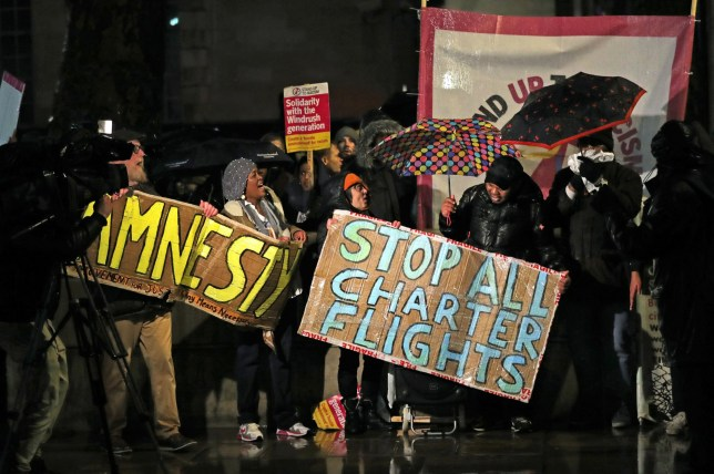 Campaigners outside Downing Street, London, protest against government plans to deport 50 people to Jamaica. PA Photo. Picture date: Monday February 10, 2020. The deportation flight is understood to be leaving the UK at 6.30am on Tuesday February 11. See PA story POLITICS Deportations. Photo credit should read: Aaron Chown/PA Wire