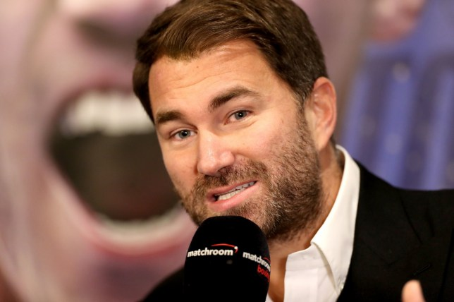 Eddie Hearn speaks to the media during a press conference