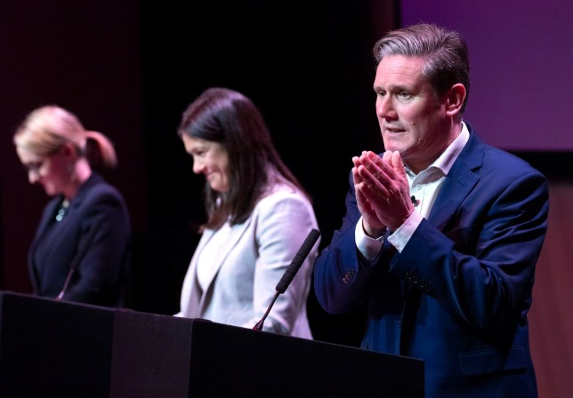 Labour leadership candidate Sir Keir Starmer (right), alongside Lisa Nandy (centre) and Rebecca Long-Bailey (left), speaking during the Labour leadership hustings at the SEC Centre, Glasgow. PA Photo. Picture date: Saturday February 15, 2020. Photo credit should read: Jane Barlow/PA Wire