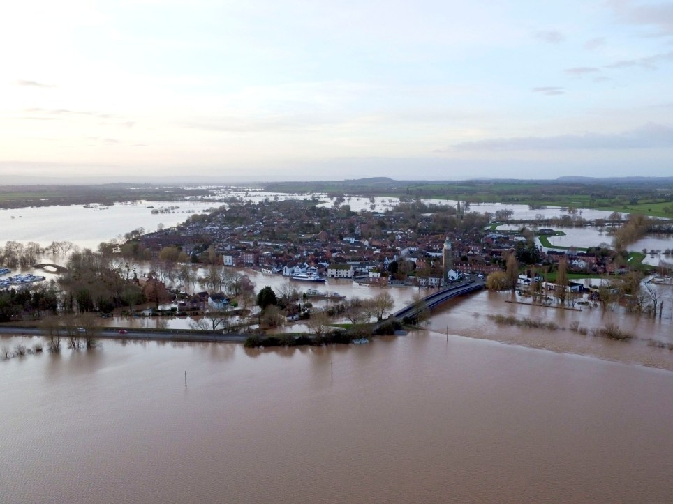 Flood water surrounds Upton upon Severn in Worcestershire. PA Photo. Picture date: Tuesday February 18, 2020. Severe flood warnings remain in place in the wake of Storm Dennis, with more rain expected to fall later this week. See PA story WEATHER Storm. Photo credit should read: Steve Parsons/PA Wire