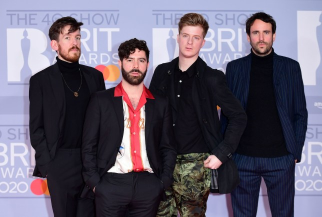 Edwin Congreave, Yannis Philippakis, Jack Bevan and Jimmy Smith of Foals arriving at the Brit Awards 2020 held at the O2 Arena, London. PA Photo. Picture date: Tuesday February 18, 2020. See PA story SHOWBIZ Brits. Photo credit should read: Ian West/PA Wire