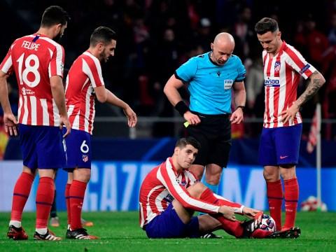 Alvaro Morata injures himself missing a sitter vs Liverpool